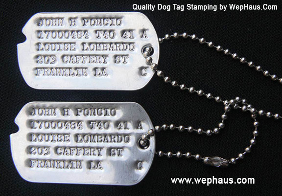 US GI WWII Notched Dog Tag Set w/ Ball Chain and Custom Stamping Service