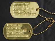 US GI Solid Brass Dog Tag Set w/ Custom Imprinting