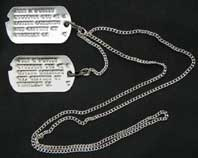 US GI WWII Notched Dog Tag Set w/ M1940 Chain and Custom Stamping Service