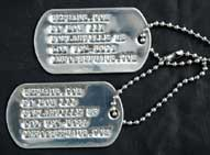 US GI Polished Stainless Steel Dog Tag Set w/ Custom Imprinting
