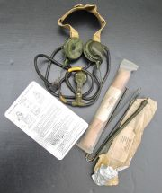 Dutch Military Radio Headset w/ 2 Antennas & Instruction plate, WS 88 A (1960s)