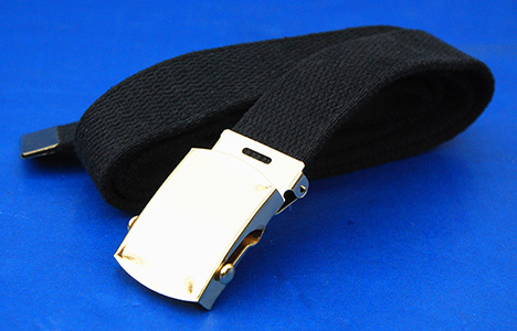 US GI Black Web Trouser belt with Brass Roller Buckle