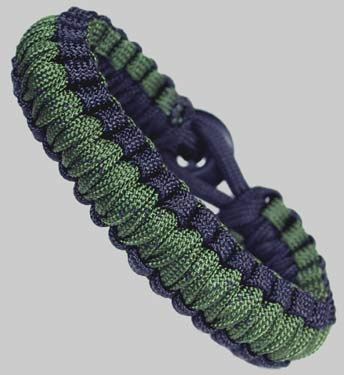 Paracord Survival Bracelet - Camo Green and Black