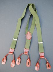 Czech Army OD Green Elastic and Leather Trouser Suspenders