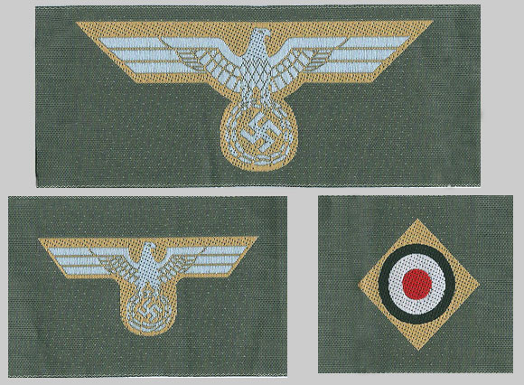 German WWII Army (Heer) Afrika Korps (DAK) BeVo Enlisted Ranks Breast Eagle, Cap Eagle and Cockade set- Save!