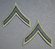 US GI Embroidered Sleeve Rank Pair, Subdued, Single Chevron, E-2 to E-3