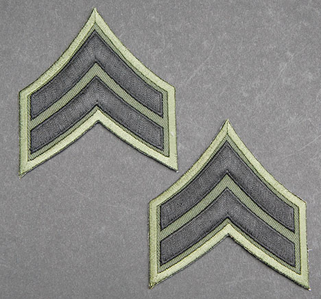 US GI Embroidered Sleeve Rank Pair, Subdued, E-4 Corporal