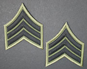US GI Embroidered Sleeve Rank Pair, Subdued,  E-5 Sergeant