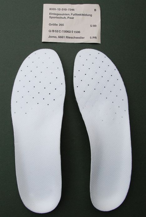 German Army (Bundeswehr) Orthotic Sports Shoe Insoles (Pair) Unissued