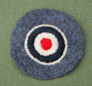 German WWII Luftwaffe Embroidered Tri-colored Rondell (cockade) on blue wool