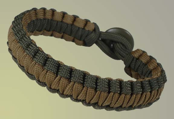 Paracord Survival Bracelet - Camo Green and Coyote Tan