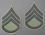 US GI Embroidered Sleeve Rank Pair, Subdued,  E-6 Staff Sergeant