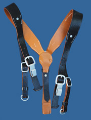 German WWII Reproduction Leather Field Suspenders (Y-straps)