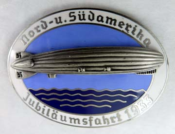 1933 Zeppelin Commemorative Badge - White